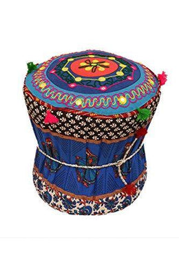Rang Barse Rohi Rajasthani Handmade Patchwork Cotton Single Mudda/Ottoman/Pouffe (Bamboo, Multicolour,17 X 17 X 18 Inches) - Home Decor Lo