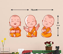 Load image into Gallery viewer, Decals Design 'Buddha Design Three Baby Monk PVC Wall Sticker' (PVC Vinyl, 60X45cm, Multicolor)