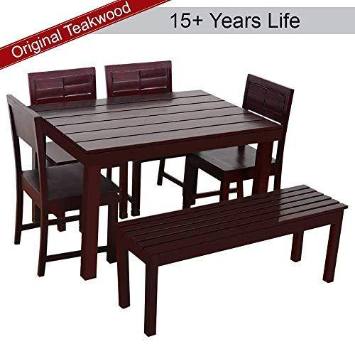 Furny Tadd Teak Wood 6 Seater Dining Table Set with Bench - Mohgany Polish - Home Decor Lo