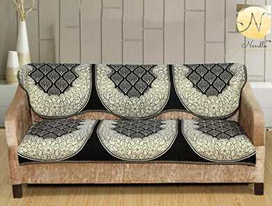 Nendle Cotton Sofa Covers Set of 3 Seater for Living Room (Black, 2 Pieces)
