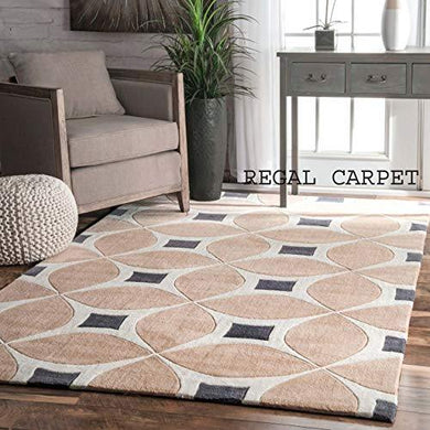 Regal Carpet Embossed Carved Handmade Tuffted Pure Woollen Thick Geometrical Carpet for Living Room Bedroom Size 4 x 6 feet (120X180 cm) Beige & White Multi - Home Decor Lo