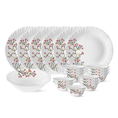 Larah by Borosil Red Bud Silk Series Opalware Dinner Set, 19 Pieces, White