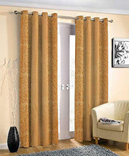 Load image into Gallery viewer, Decoscapes Pyramid Design Heavy Long Crush Quality Punching Curtains for Door Pack of 2 (Gold, 7 Feet) - Home Decor Lo