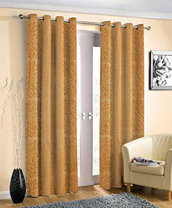 Decoscapes Pyramid Design Heavy Long Crush Quality Punching Curtains for Door Pack of 2 (Gold, 7 Feet) - Home Decor Lo