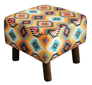 Kridhay Natura Life Printed Ottoman Cushion Footrest Stool Pouf - 4 Wooden Legs Added Stability - Home Decor Lo