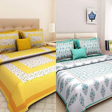 Ealth Kart 100% Cotton Rajasthani Jaipuri King Size Combo Bedsheets Set of 2 Double Bedsheets with 4 Pillow Covers - Multicolor