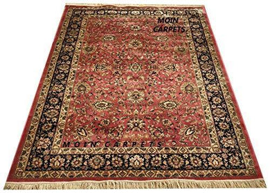 Moin Carpets Kashmiri Silk Carpets for Living Room and Home 9 x 12 Feet Pink and Black - Home Decor Lo