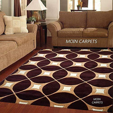 Moin Carpets Geometric Design Acrylic Wool Soft and Thick Carpet/Rug, 6 x 8 feet Carpet for Living Room/Home, (180 x 235 cms) Brown - Home Decor Lo