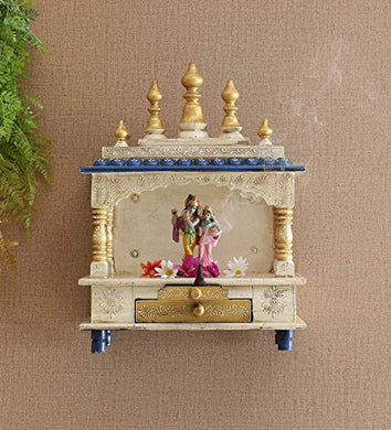 MICROTEX Designer Wooden mandir for Home, Pooja Room, Office, Shop, Temple Wall Hanging (21 inch X 15 inch) (White)