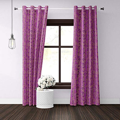 ECOTEX Polyester Curtain for Door, Wine 7 feet, Set of 2