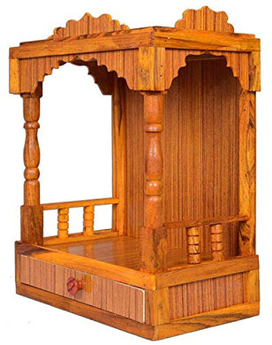 Hydroshell Wooden Plywood Mandir for Pooja Home Decoration Wall Mounten Beautiful Temple (Hight 52 X 42X 26CM)