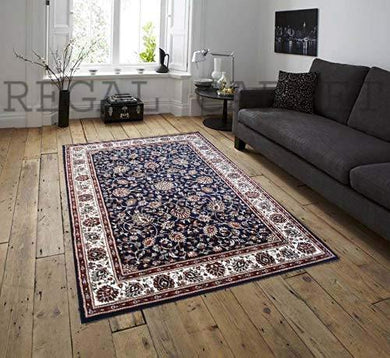 Regal Carpet Kashmiri Design Royal Look Traditional Persian Carpets for Living Room Home with 1 inch Thickness 5 X 7 Feet (150x210 cm) Blue Multi - Home Decor Lo