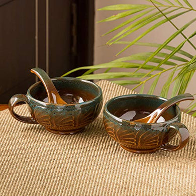 ExclusiveLane 'Amber & Teal' Studio Pottery Handled Ceramic Soup Bowls with Spoons & with Handle (Set of 2, 300 ML, Dishwasher & Microwave Safe), Amber with Teal tints, Standard (EL-005-698)