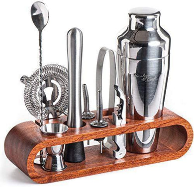 Mixology Bartender Kit: 10-Piece Bar Tool Set with Stylish Mahogany Stand - Perfect Home Bartending Kit and Martini Cocktail Shaker Set For an Awesome Drink Mixing Experience - Exclusive Recipes Bonus - Home Decor Lo