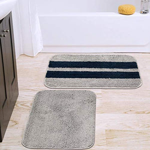 CAZIMO Anti Striped Skid Microfiber Door Mat Set of 2- 16 x 23 Inches, 40 cm x 58 cm (Blue : Grey)