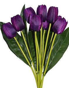 Fourwalls Beautiful Artificial Polyester and Plastic Tulip Flower Bunch (9 Head Flower, 38 cm Total Height, Purple, Set of 2)
