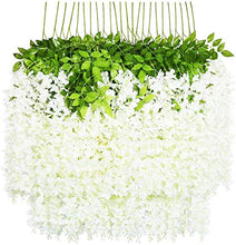 Load image into Gallery viewer, WoodZone 4 Pcs 42 Inches Wisteria Artificial Flowers Dense Flower Vine | Muggu Backdrop for Decoration | Phoolon ki Chaddar for Bride Entry | Artificial Flowers for Home Decoration Hanging (White)