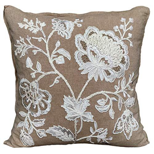 AJS Living Cotton English Flora Cushion with Cover for Home Office School Chair seat, Takiya TC - 200 (45x45 cm/18x18 Inch, Beige and Light Pink) - Home Decor Lo