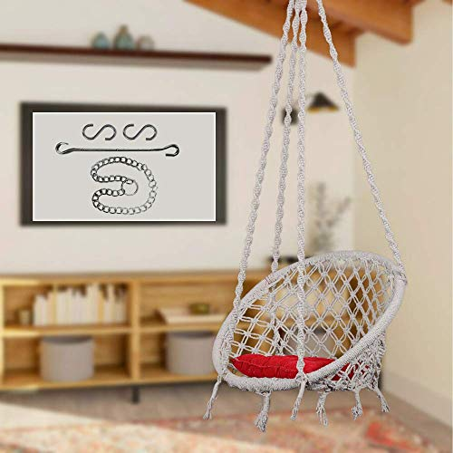 Swingzy Cotton Round Hanging Swing for Kids & Adults,100% Cotton Rope Swing Chair with Square-Cushion for Indoor,Outdoor,Patio,Swing Chair with 3ft. Chain & Hanging Accessories(120 kgs Capacity,White)