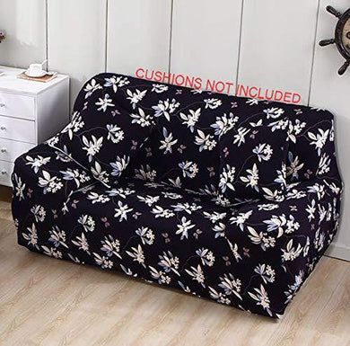 House of Quirk Universal Sofa Cover Big Elasticity Cover for Couch Flexible Stretch Sofa Slipcover (Black Flower, Double Seater 145-185 cm) - Home Decor Lo