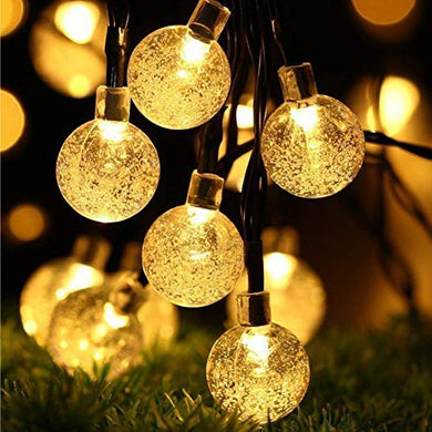 PESCA 20LED Crystal Bubble Ball String Fairy Lights for Decortaion Diwali Christmas Xmas Light for Diwali Home Decorations Lighting (Warm White, 3 Meter)