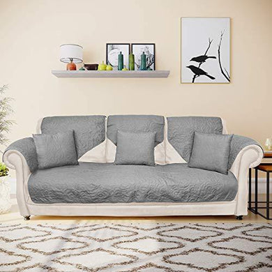 @home by Nilkamal Reversible Solid 3 Seater Sofa Cover with 3 Cushion Covers (Grey) - Home Decor Lo