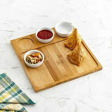 Home Centre Rhodes Edulis Bamboo Chip and Dip Tray with Bowls- Set of 4