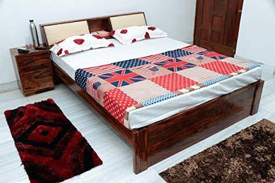 Ganpati Arts Sheesham Wood Mayor King Size Bed Without Storage Bedroom Furniture (Natural Finish)