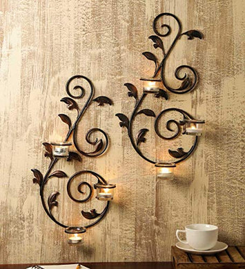 Hosley 18IN Long Set of 2 Decorative Wall Sconce with Free Tealights