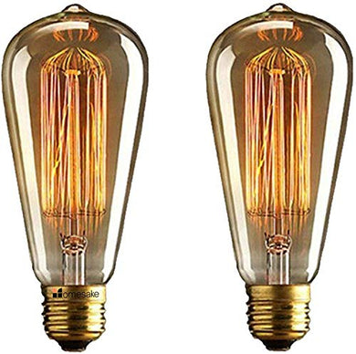Homenique 60-Watts E27 Incandescent Yellow Light Bulb, Pack of 2