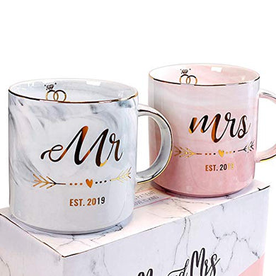 Vilight Gifts for Couple Married 2019 - Mr and Mrs Mugs for Newlyweds - Marble Coffee Cups Set with Gift Package
