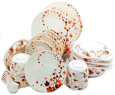 Smart Dinning Melamine Dinner Set - 40 Pieces, White