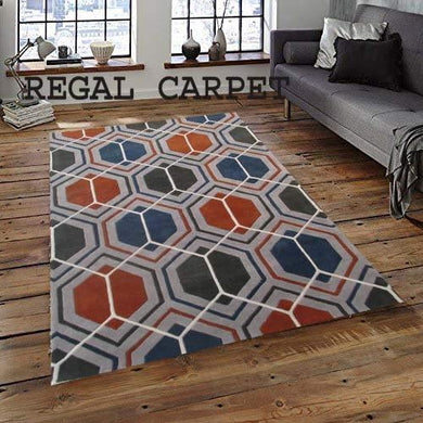 Regal Carpet Embossed Carved Handmade Tuffted Woollen Thick Geometrical Carpet for Living Room Bedroom Home Size 5 x 8 feet (150X240 cm) Charchole Grey Multi - Home Decor Lo