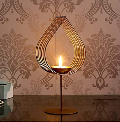 EMBELLISH Golden Eye Candle Holder with Candle | Glass Design Candle Stand | Diwali Light | Festive Light | Decorative Light | Standing Candle Stand (1)