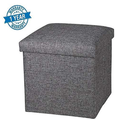Callas Linen Storage Ottoman Cube, Space Saving Storage Box, Foot Rest Sear, CA 7001 (38X38X38 cm) - Home Decor Lo