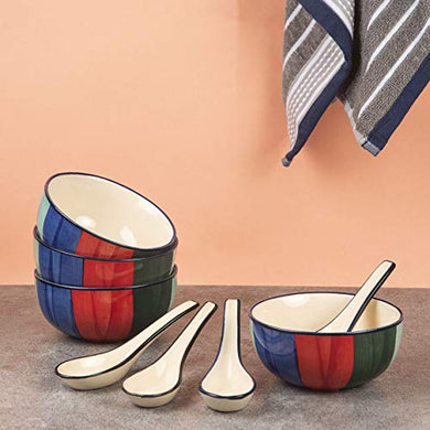 HS Hindustani Saudagar Microwave Hand Painted Ceramic Soup Bowl with Spoon Set of 4