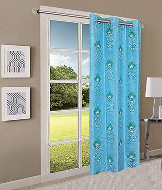 Queenzliving Secret Linen Curtain, Door 7 feet- Pack of 1, Sky Blue
