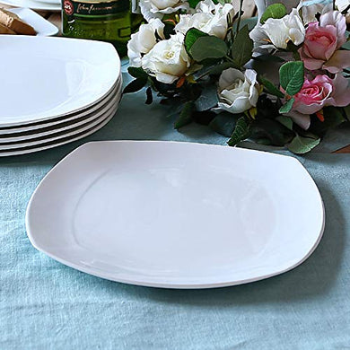 Clay Craft Basics 10 Inches Plain Square Shape Bone China Dinner Plate Set of 4