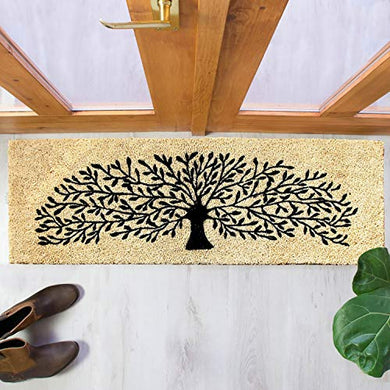 Onlymat Natural Coir| Attractive Tree Print| PVC Backing| Long-Lasting| Heavy Duty| Weather Resistant| Indoor| Covered Door | Doormat- 120 x 40 cm (Beige Color)