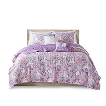 Load image into Gallery viewer, Urban Habitat Kids Lola Reversible Cotton Unicorn Floral Flower Botanical Printed Embroidered Pillow Soft Down Alternative Hypoallergenic Season Coverlet Quilts Bedding-Set, Full/Queen, Pink