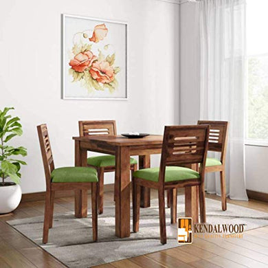 Hariom Handicraft KendalWood Furniture Sheesham Wood Natural Teak Finish 4 Seater Dining Table Set with Chairs and Green Cushion