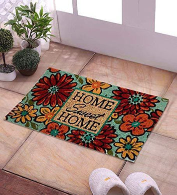 SWHF Coir Door Mat with Anti Skid Rubberized Backing: Multi (Home Sweet Home)