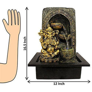 ART N HUB Lord Ganesh Indoor Fountain Showpiece with Flowing Water for Home Decorative Table Top - Home Decor Lo