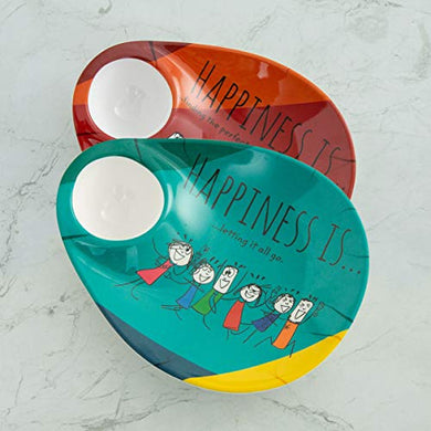 Home Centre Happines Printed Chip and Dip - Set of 2 Pcs - Multicolour