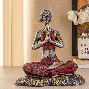 TIED RIBBONS Yoga Lady Statue Figurine for Home Table Top Living Room Hall Bedroom Shelf Decoration - Yoga Posture Statue (25 X 31.5 cm, L X H) - Home Decor Lo
