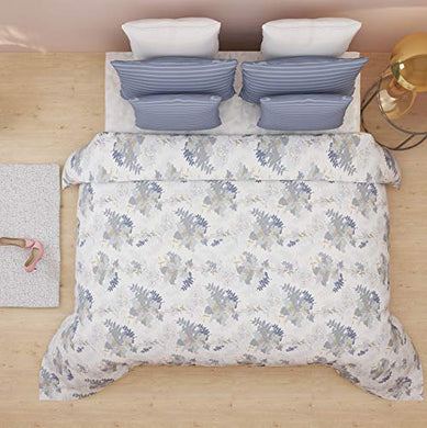 Trident Senovita Navy Floral Double Bedsheet with 2 Pillow Cover Set (DSN-04)