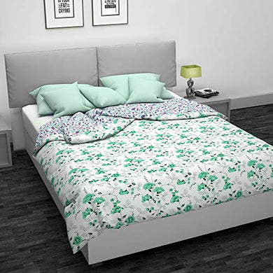 Angel Brand Gardenia Printed Microfibre Comforter/Blanket/Quilt/Duvet,Single, White and Green