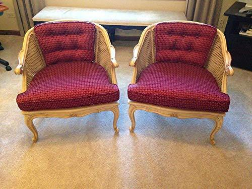 MALINA Belgium Pair of Antique Cane Chairs for Home 28x28x20.5 inches (WxHxD) Cream and Maroon - Home Decor Lo