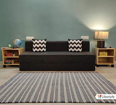 UberLyfe Sofa Cum Bed - 3 Seater, 6'X6' Feet- with 2 Cushions(Zigzag Pattern) - Jute Fabric | Dark Grey- Perfect for Guests