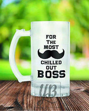 Load image into Gallery viewer, YuBingo Designer Frosted Glass Beer Mug (Most Chilled Out Boss) - Home Decor Lo